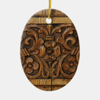 wood panel ceramic oval decoration