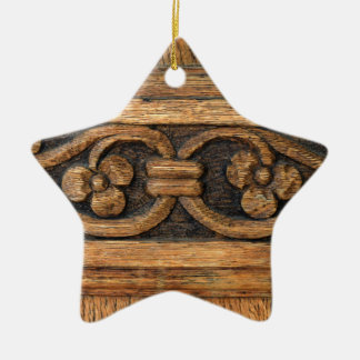 wood panel sculpture ceramic star decoration