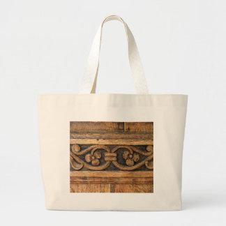 wood panel sculpture large tote bag