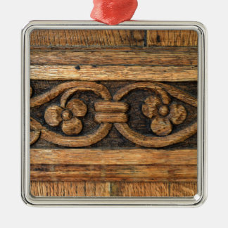 wood panel sculpture Silver-Colored square decoration