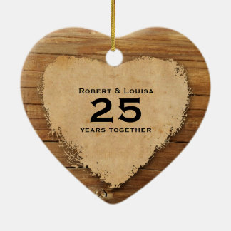 Wood Parchment Heart Love Poem Anniversary Christmas Ornament