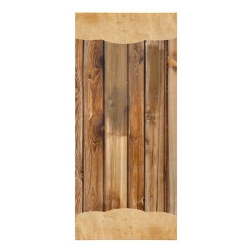 Wood Parchment Rustic Country Wedding Program Menu Rack Card Template