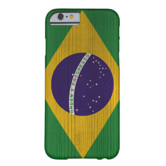 Wood Pattern with Brasil Engraved Flag Barely There iPhone 6 Case