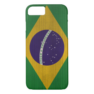 Wood Pattern with Brasil Engraved Flag iPhone 7 Case