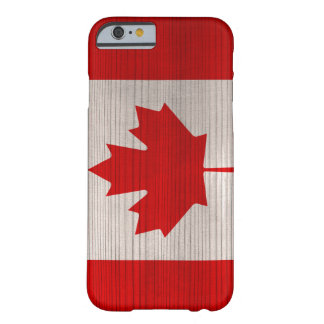 Wood Pattern with Engraved Canada Flag Barely There iPhone 6 Case
