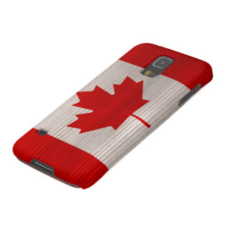 Wood Pattern with Engraved Canada Flag Galaxy S5 Cover