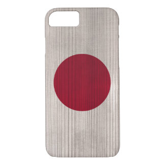 Wood Pattern with Engraved Japan Flag iPhone 7 Case