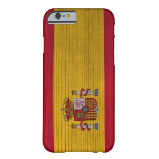 Wood Pattern with Engraved Spain Flag Barely There iPhone 6 Case
