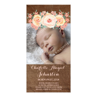 Wood Peach Flowers Thank You Baby Shower Customised Photo Card