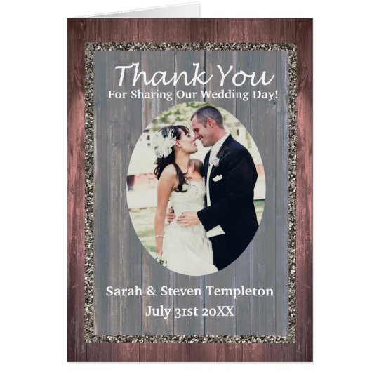 Wood Photo Rustic Theme Thank You Wedding Card