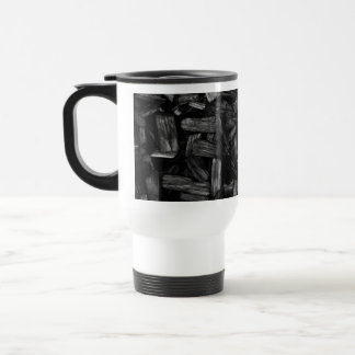 Wood pieces in black and white. travel mug