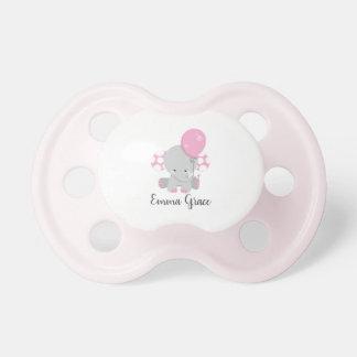 Wood & Pink Elephant Girl Baby Monogram Dummy