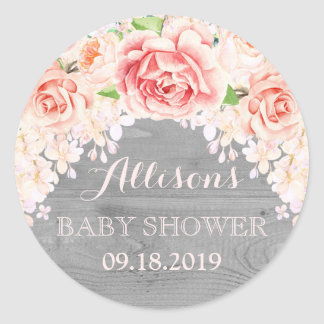 Wood Pink Watercolor Flowers Baby Shower Favor Round Sticker