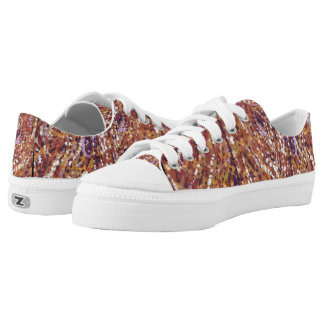 Wood planks pointillism Zipz lace shoes Printed Shoes