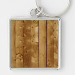 Wood planks Silver-Colored square key ring
