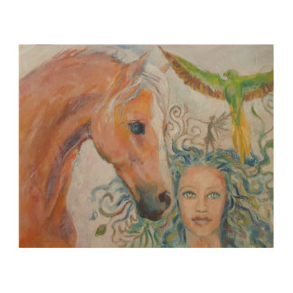 Wood plaque of Horse with Woman, Fairy and Parrot Wood Print