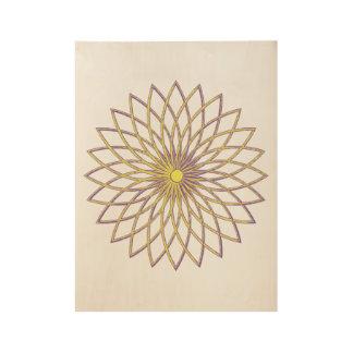 "Wood Poster 19"" x 14.5"" GEOMETRIC CIRCLE FLOWER"