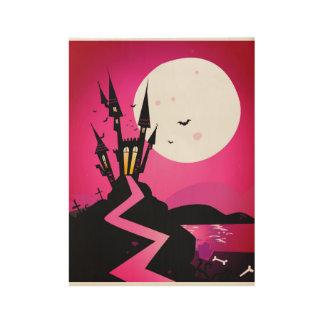 Wood poster : halloween - purple black