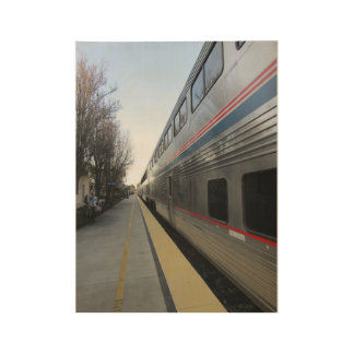 Wood Poster: Train Leaving Paso Robles Station Wood Poster