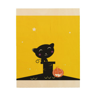 WOOD POSTER : with Black kitten