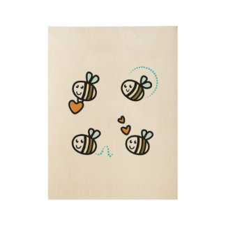 Wood poster with little bees
