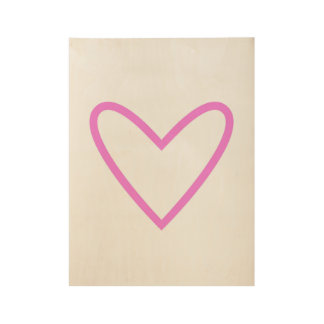 Wood poster with Pink heart