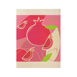 Wood poster with pomegranate