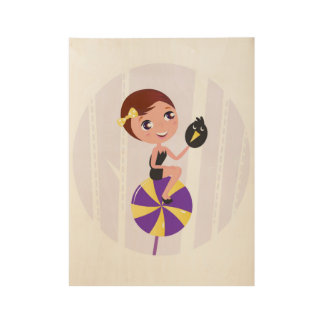 Wood poster with Witch girl