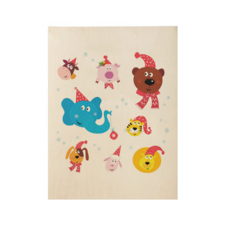 Wood poster with Xmas animals