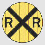 Wood Railroad Crossing Sign Round Sticker
