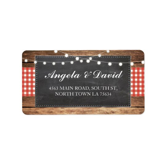 Wood Red Check Chalk Rustic Wedding Address Labels