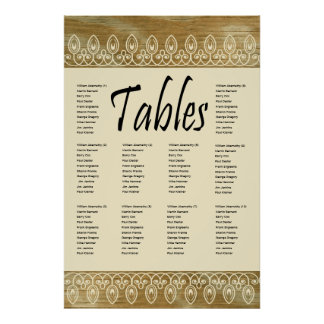 Wood Rings Gold Tint Seating Chart Posters