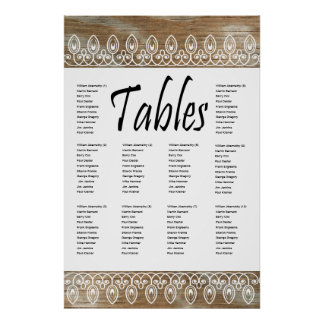 Wood Rings White lace Seating Chart Print
