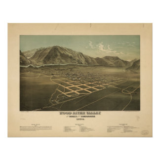 Wood River Valley Idaho 1912 Antique Panoramic Map Poster