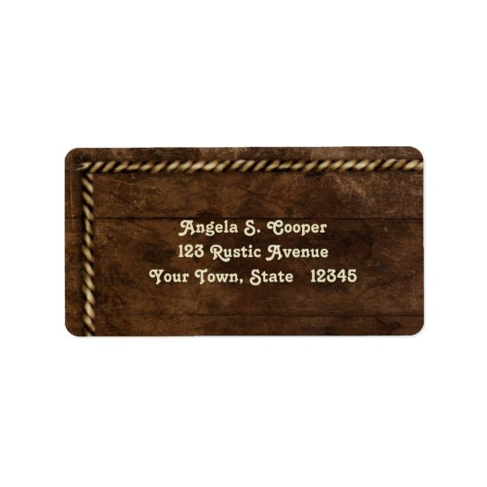 Wood, Rope Border Label