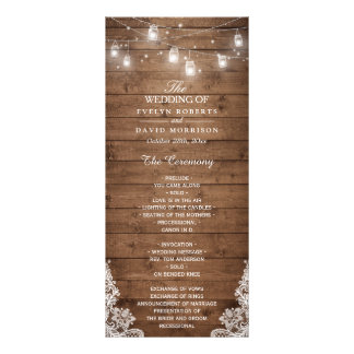 Wood Rustic String Lights Lace Wedding Program Rack Card Template