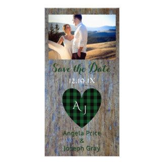 Wood Rustic Wedding Save the Date Plaid Heart Customized Photo Card