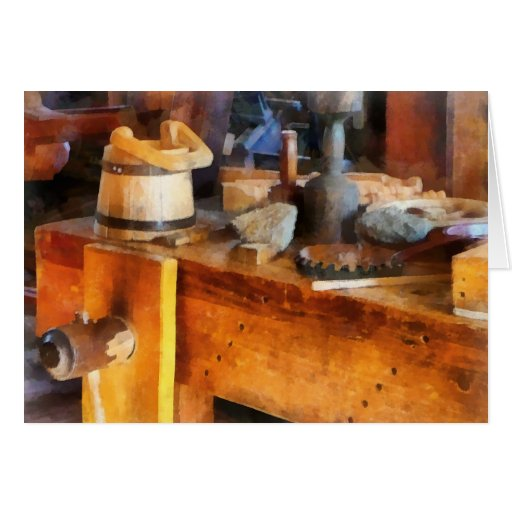 Wood Shop With Wooden Bucket Greeting Cards