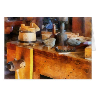 Wood Shop With Wooden Bucket Greeting Card