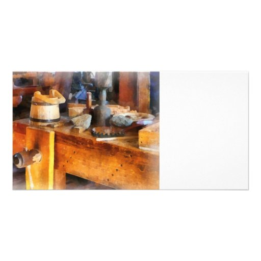 Wood Shop With Wooden Bucket Photo Card Template