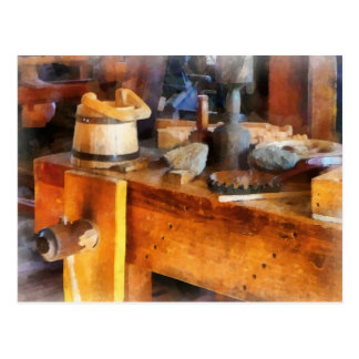 Wood Shop With Wooden Bucket Postcard