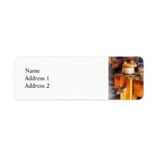 Wood Shop With Wooden Bucket Return Address Label