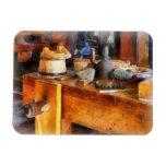 Wood Shop With Wooden Bucket Vinyl Magnet