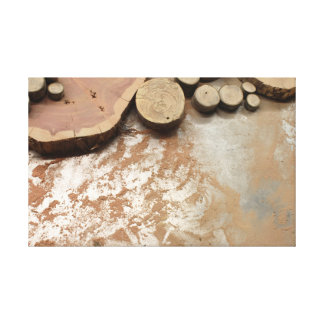 Wood Slices and Sawdust on a Metal Table Canvas Print