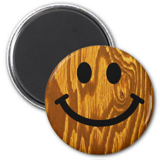 Wood Smiley 6 Cm Round Magnet