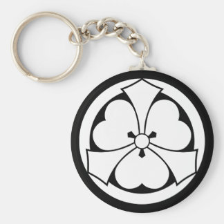 Wood sorrel with jut-out-swords in circle basic round button key ring