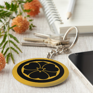Wood sorrel with swords in circle(1) basic round button key ring