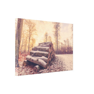 Wood stack by the road in the wintertime canvas print