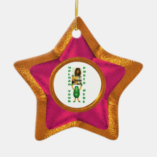 Wood star wood illusion photo border christmas ornament