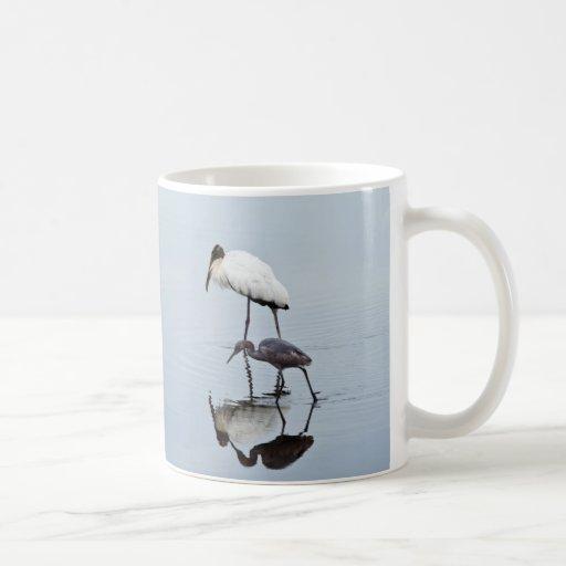 Wood Stork and Blue Heron Wading Coffee Mugs